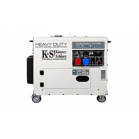 Электрогенератор дизельный 6,5 кВт Könner & Söhnen KS 8200HDES-1/3 ATSR в кожухе